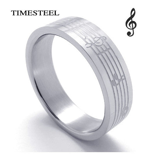 Music & Musical Note Ring For Men Fashion 316L Stainless Steel Rings Free Shipping