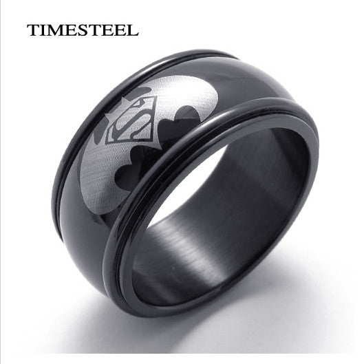 Fashion Cool Black Batman&Superman Ring For Men
