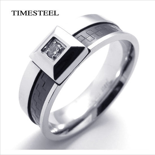 Titanium 316L Stainless Steel Ring With Cubic Zirconia Trandy Fashion Men's Jewelry Free Shipping