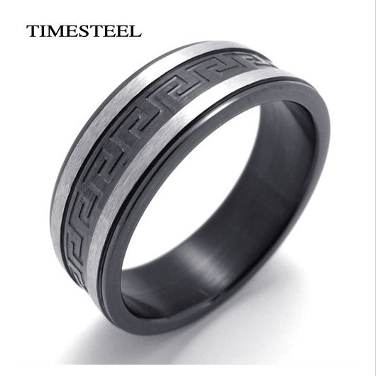 Stainless Steel Supper Cool Black Greek Key Ring Titanium Ring