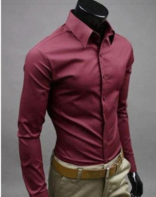 Willstyle Stylish Long Sleeve Shirt Red Wine