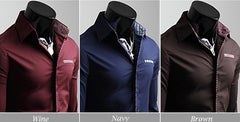 Men's Unique Neckline Stylish Long Sleeve Shirt 6 Colors