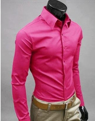 Willstyle Stylish Long Sleeve Shirt Shocking Pink