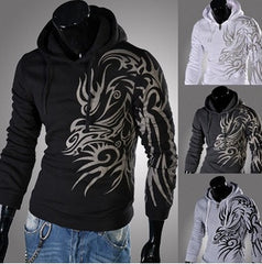 Men's Dragon Tribal Tattoo Long Sleeve Hoodies