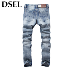 Italian Style Fashion Men Jeans Light Blue Denim Stripe Jeans Mens Pants DSEL