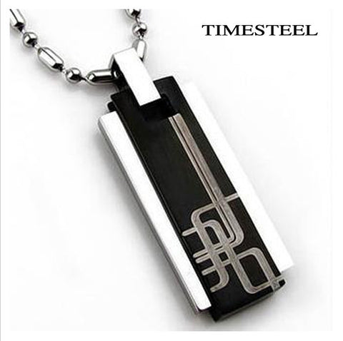 Fashion Men Jewelry 316L Stainless Steel Necklaces & Pendants Black Color Free Shipping