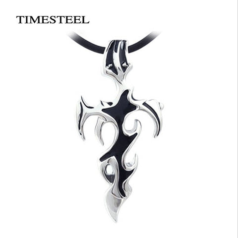 Titanium 316L Stainless Steel Men Jewelry Cross & Sword Necklaces Pendants Black Color Free Shipping