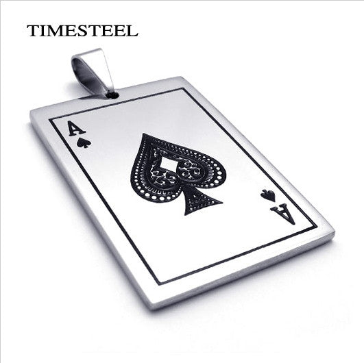 Fashion Poker Necklace Men's 316L Stainless Steel Pendant Necklace Free Shipping