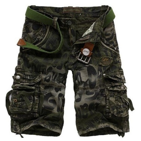 Unique Men's Camo Military Style Multi-Pocket Short Pants