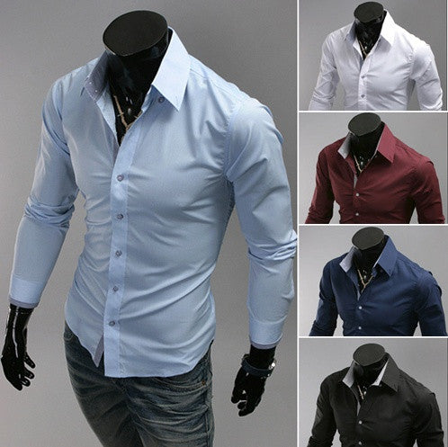 Men's Long-Sleeved Shirts Turn Down Collar Slim Fit Fashion Shirt Men