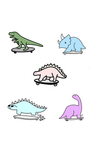 Skateboarding Dino Stickers