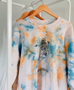 Surfing Skeleton Tie Dye Crewneck