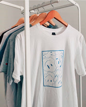 "Load image into Gallery viewer, Blue Smiley Tee ""Stay At Home"""