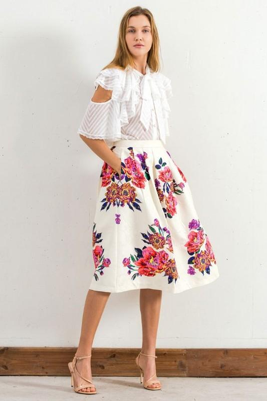 Champagne & Strawberry Floral Print A Line Skirt