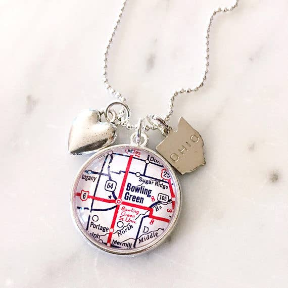 Bowling Green Ohio Map Charm Necklace