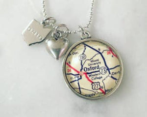 Miami University Map Charm Necklace