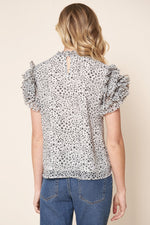 Load image into Gallery viewer, Sugarlips Brenna Mock Neck Ruffle Leopard Blouse