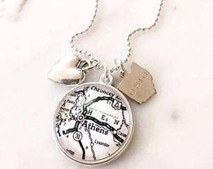 Ohio University Map Charm Necklace