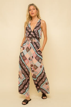 PREMIUM BOHO GORGEOUS PRINT SURPLICE TOP WAIST SMOCKED SO SOFT ONE AND DONE JUMPSUIT