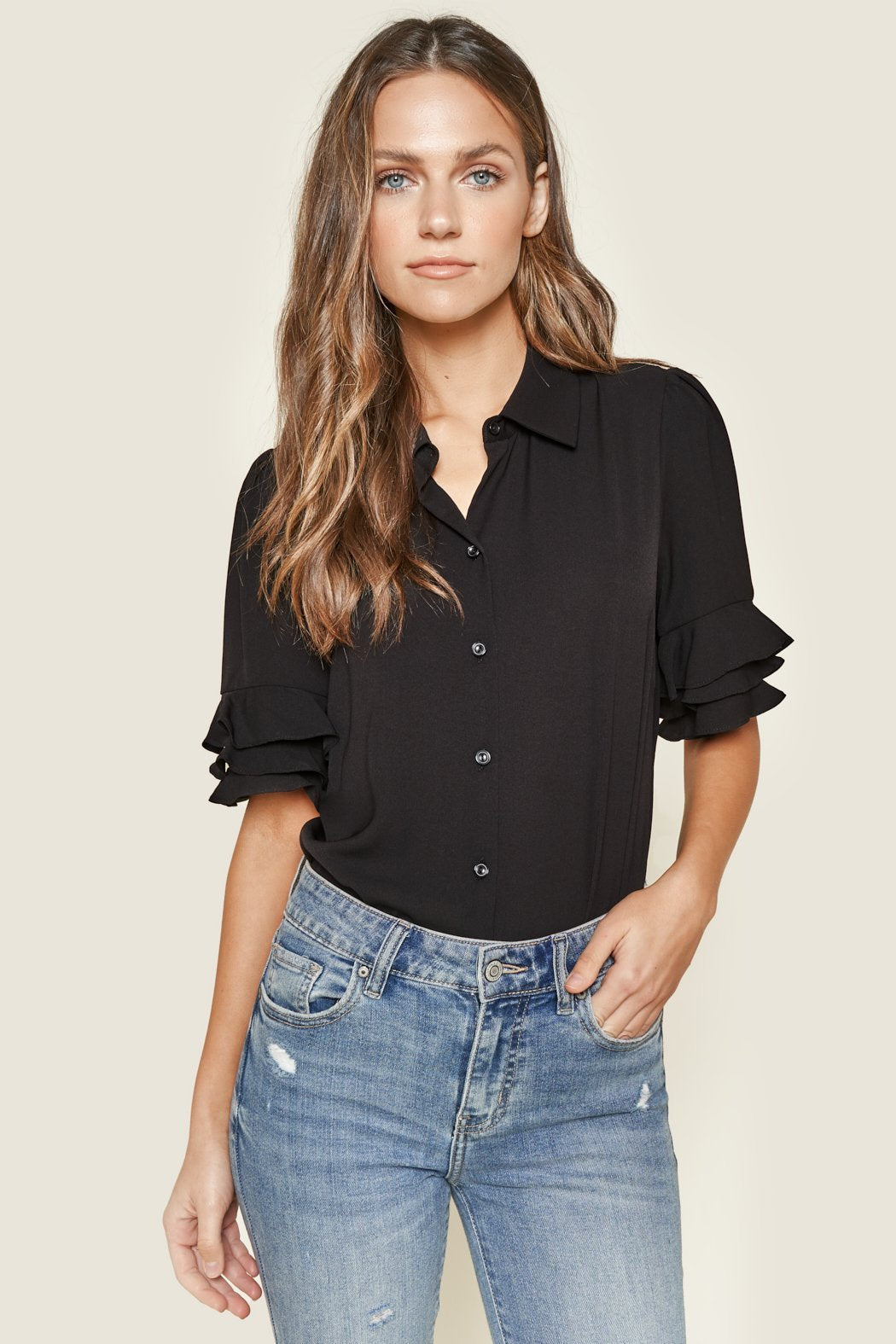 Raylan Button Up Ruffle Blouse