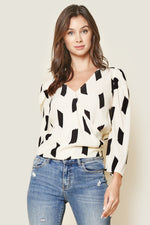 Load image into Gallery viewer, Sugarlips Total Allure Geo Print Surplice Top