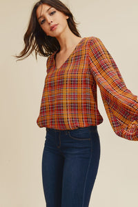 Plaid Blouse with Balloon Sleeve