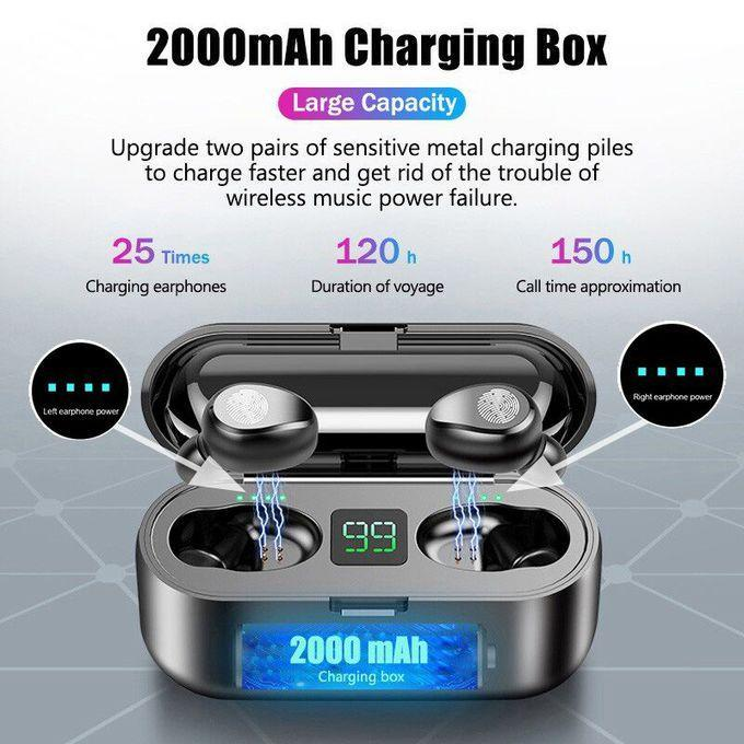 Bluetooth 5.0 Wireless Earbuds F9 Touch IPX8 Waterproof Charging Box HiFi