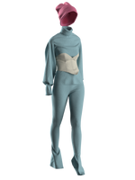 Knitted Suit with Corsage and Hat by Aschno