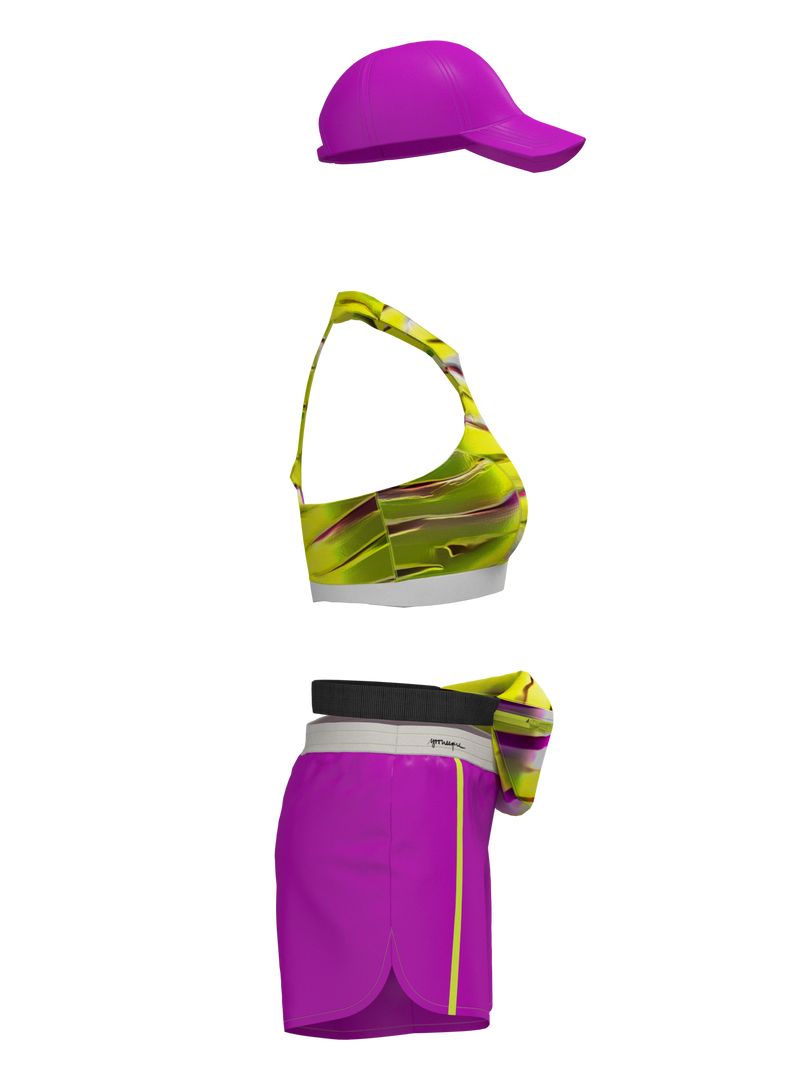 two-piece sport wear with shorts & banana bag & hat