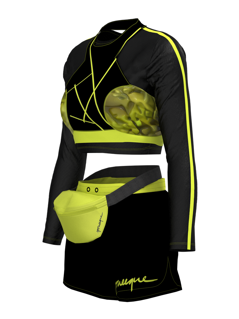 two-piece sport wear with shorts & banana bag