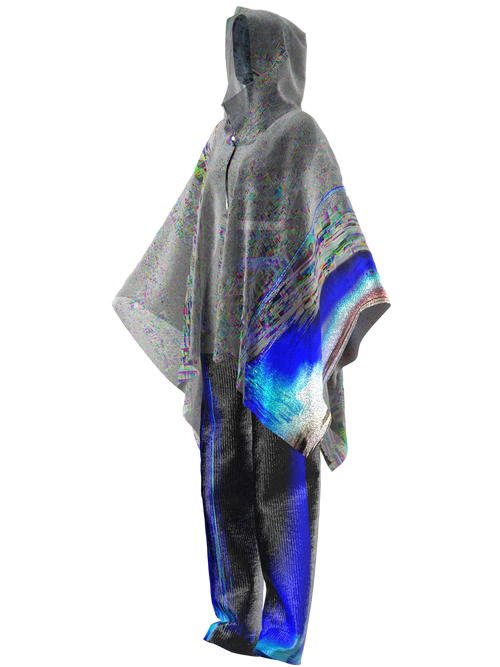 GRADIENT NOISE PONCHO WITH SPACE TEXTURED PANTS