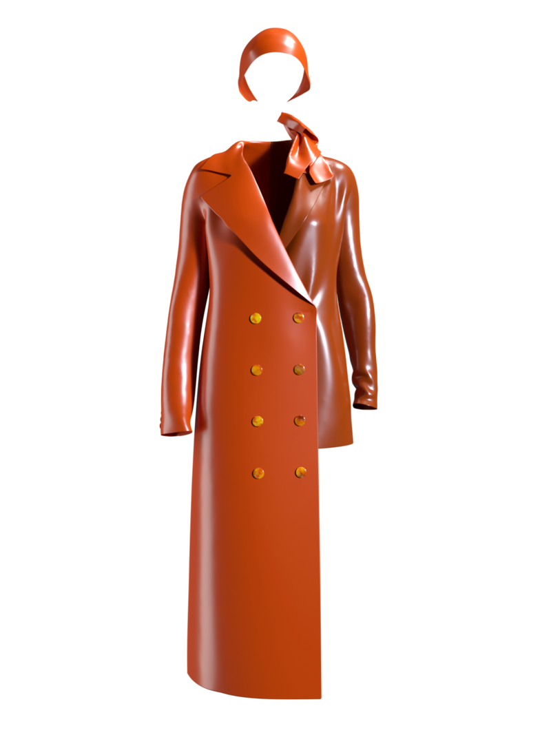 Amber buttoned asymmetric orange suit