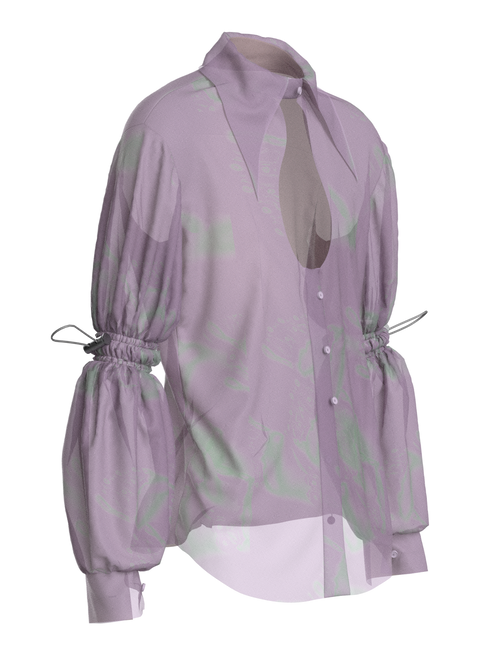 Transparent Silk Open Front Disco Shirt