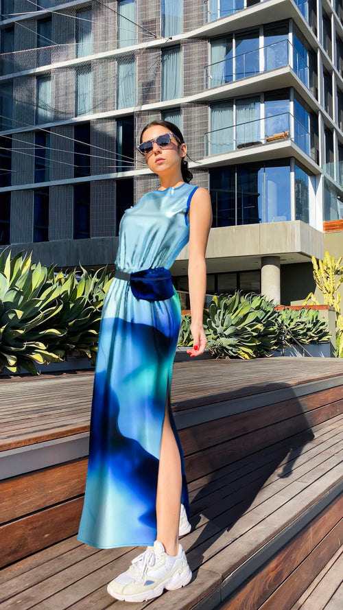 reflective maxi dress & banana bag
