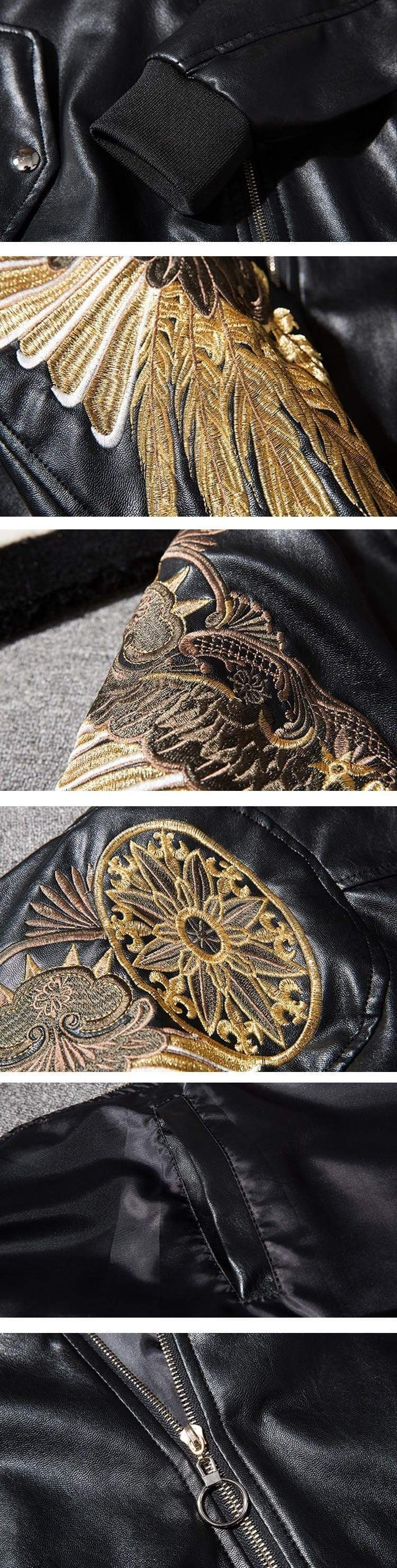 Gold Wings Embroidery Motorcycle Jacket