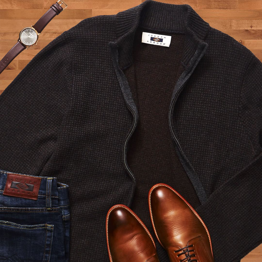 Sweater, shoes, jeans and watch