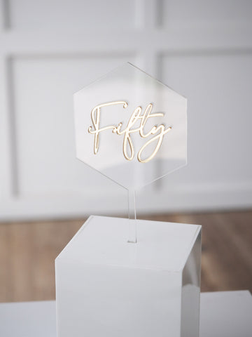 Floating Hexagon Age Cake Topper - Script Font