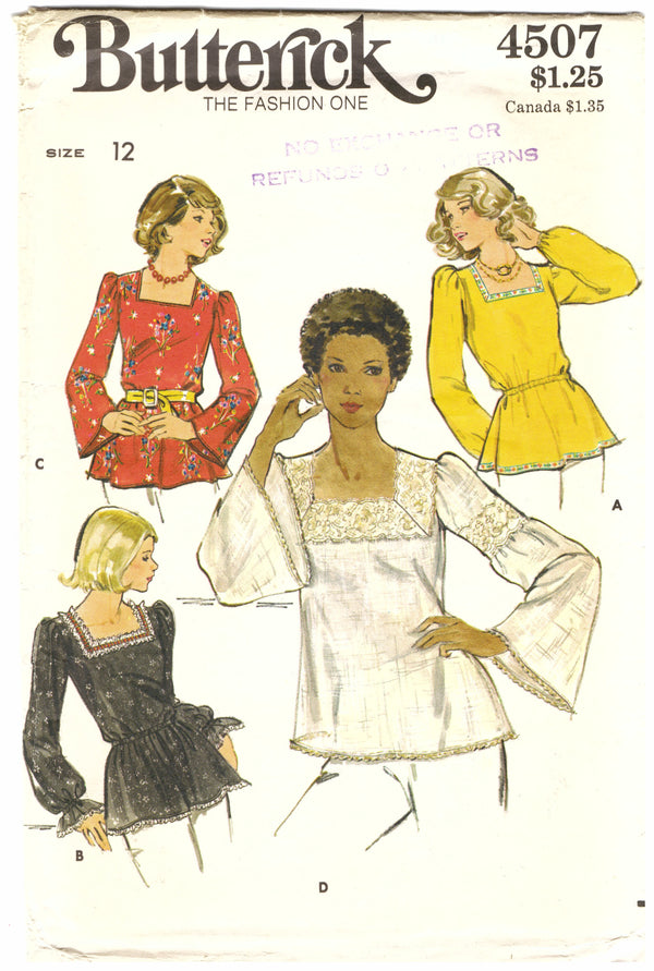 Butterick 4507 Long Sleeve Sewing Pattern - Hoglumps