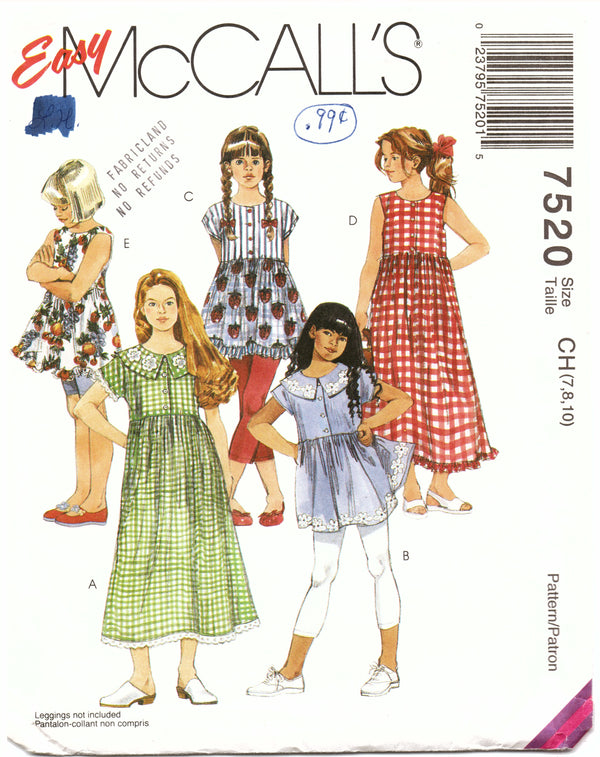 McCalls 7520 Kids Dress Sewing Pattern - Hoglumps