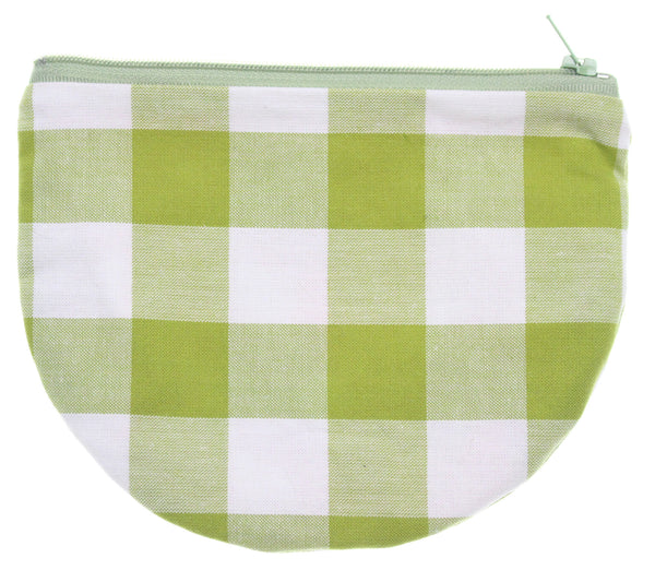 Green Checkers Pouch Checkered Orange Interior - Hoglumps