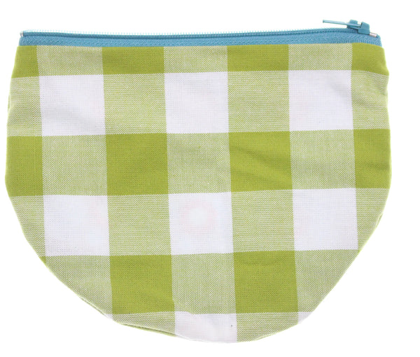 Green Checkered Pouch Red Flower Interior - Hoglumps