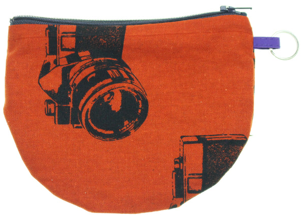 Orange Camera Pouch With Ring Red Flower Interior - Hoglumps
