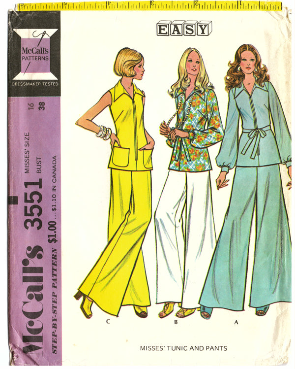 McCalls 3551 Two Piece Sewing Pattern - Hoglumps