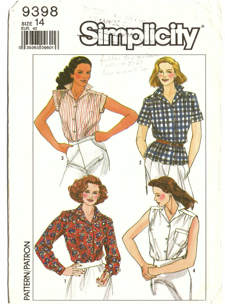 Simplicity 9398 Blouse Sewing Pattern - Hoglumps