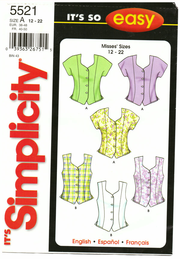 Simplicity 5521 Top Sewing Pattern - Hoglumps