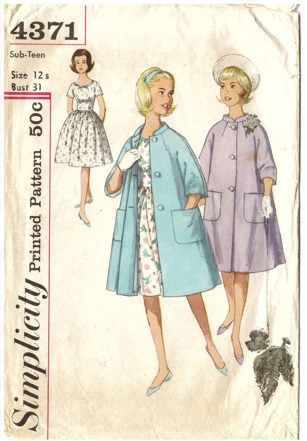Simplicity 4371 Dress & Coat Sewing Pattern - Hoglumps