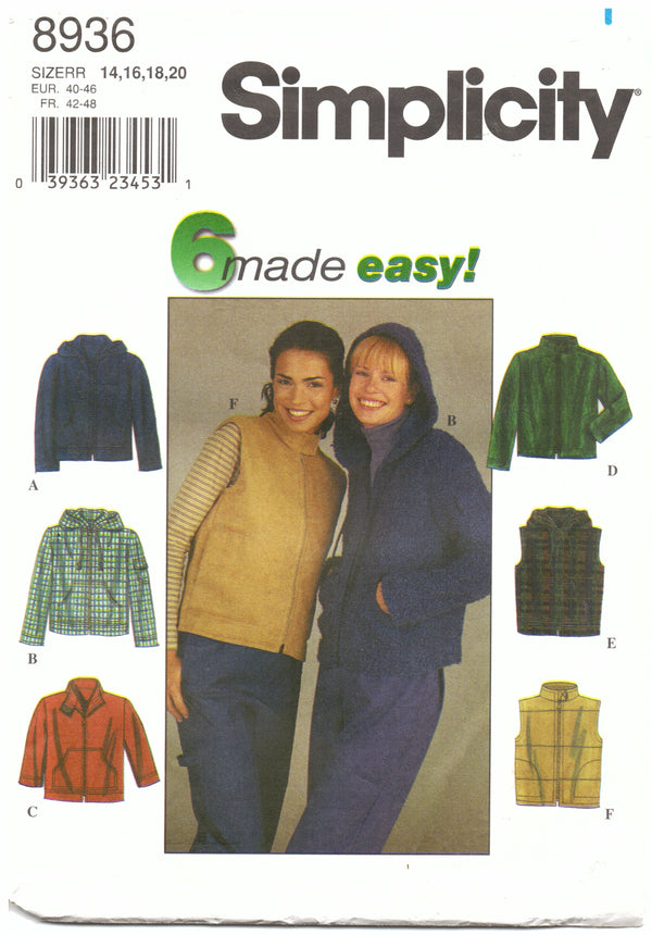 Simplcity 8936 Hoodie Vest Sewing Pattern - Hoglumps