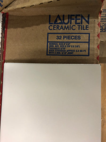 "6"" x 6"" Ceramic Laufen Floor Tile box - White"