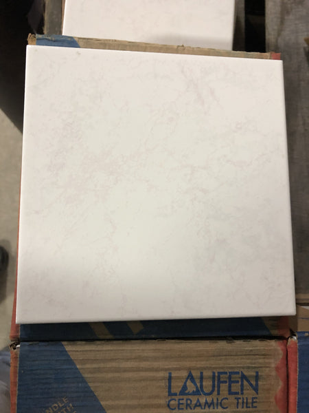 "8"" x 8"" Ceramic Laufen Floor Tile box - Marbled White/Pink"