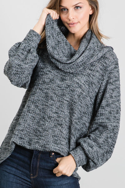Funnel Neck Ribbed Top